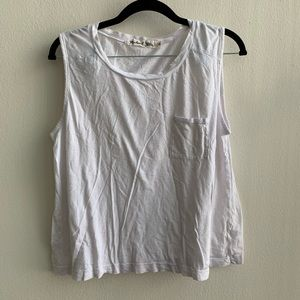 Michael Stars White Cropped Muscle Tee O/S